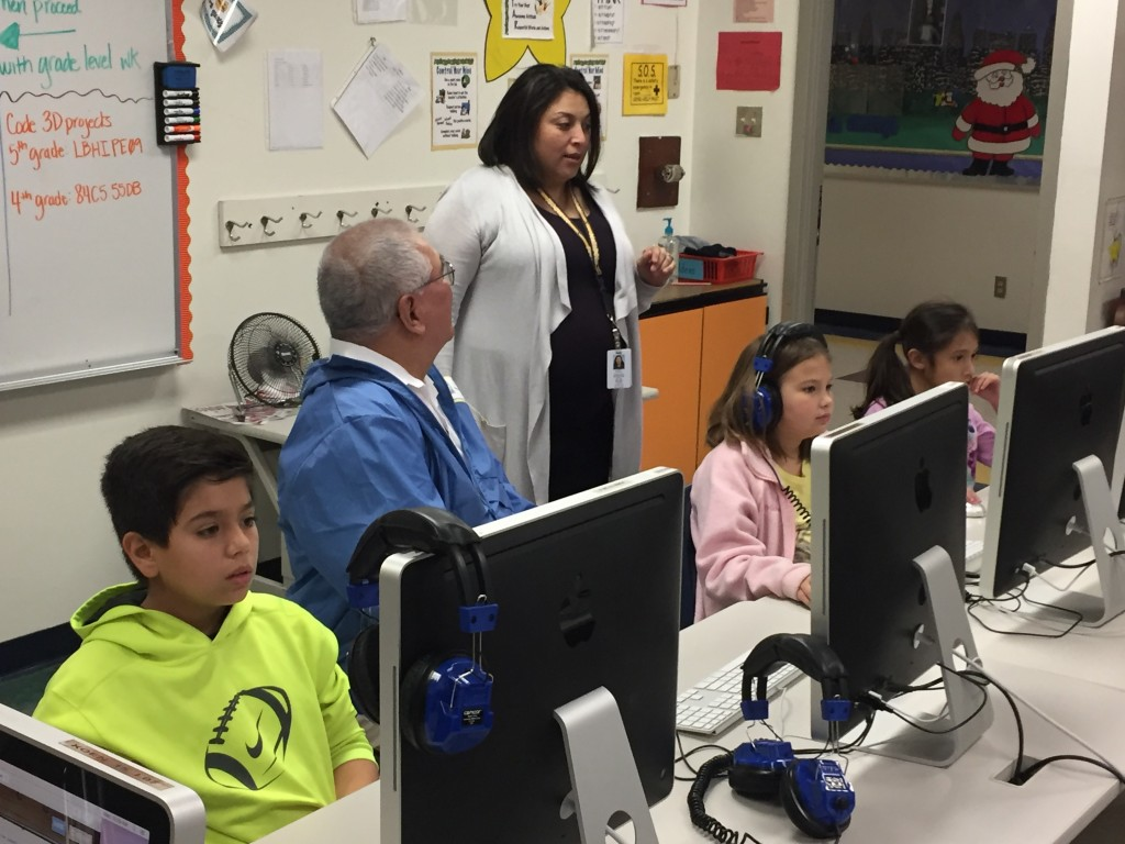 Trustee Amador also paid a visit to Mrs. Casiano's lab at Koennecke Elementary, where students were learning Python code using CodeCombat.